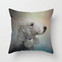 terrier Throw Pillows featuring Bedlington Terrier by Jai Johnson