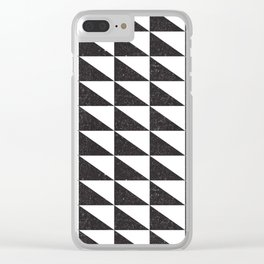 Retro Triangular Geometric Pattern 04 - White, Black Clear iPhone Case