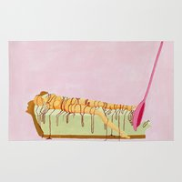pie Area & Throw Rugs featuring Pink Pie by Nadina Embrey - Artist / Illustrator