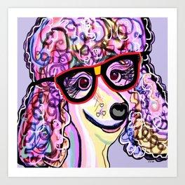 Hipster Poodle Art Print
