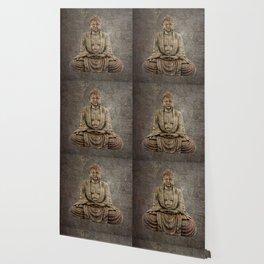 Sitting Buddha On Distressed Metal Background Wallpaper