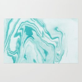Aimi - spilled ink abstract water wave tropical vacation india ink aqua gender neutral painting boho Rug