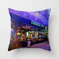 starbucks Throw Pillows featuring Winter starbucks by Sjaefashion