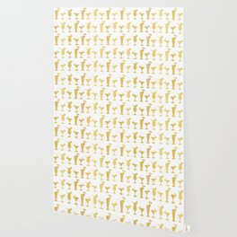 Luxury Gold Foil Frosty Cocktail Glasses Seamless Pattern Background Wallpaper