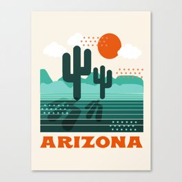 Arizona - retro 70s 1970's sun desert southwest usa throwback minimal design Canvas Print