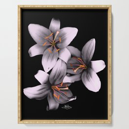 Black and White Ant Lilies Flower Scanography Serving Tray