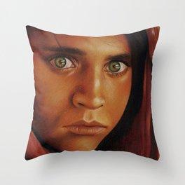 Afghan Girl Throw Pillow