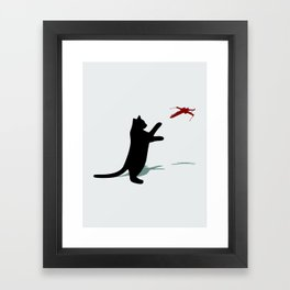 Cat and X-Wing Framed Art Print