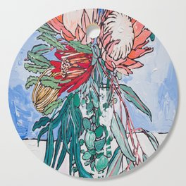 Painterly Vase of Proteas, Wattles, Banksias and Eucayptus on Blue Cutting Board