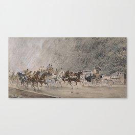 Heinrich Gottfried Wilda carriage ride in the rain 1886 Canvas Print