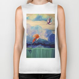 a fish may love a bird but where would they live..... Biker Tank