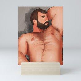 hairy hunk daddy Mini Art Print