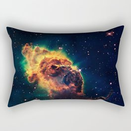 over a galaxy in the space Rectangular Pillow