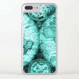 Vintage Turquoise Green Map Design Clear iPhone Case