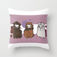 nori Throw Pillows featuring Dwarpaca family #3 by Lady Cibia