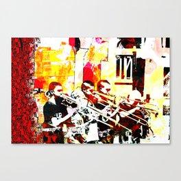 Happy noise trumpet players Canvas Print
