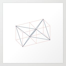 #346 Two tetrahedrons in adjacent cubes – Geometry Daily Art Print