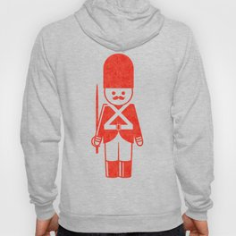 English toy soldier with sword, drawing with letterpress effect. Hoody