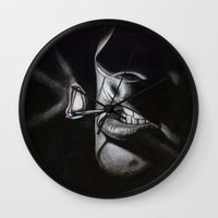 lou reed Wall Clocks featuring Lou Reed Is Dead by Tom Christophersen Creates