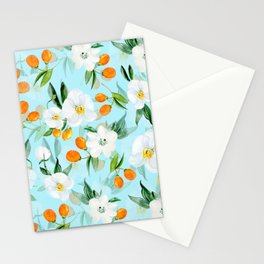 mediterranean summer kumquat and orchid branches on turquoise Stationery Cards