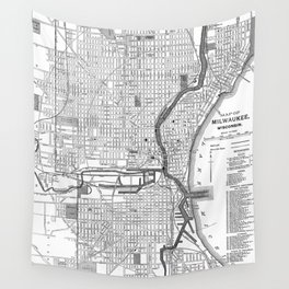 Vintage Map of Milwaukee Wisconsin (1891) BW Wall Tapestry