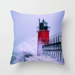 South Haven Lighthouse Winter Waves Icy Pier Little Red Lighthouse Lake Michigan Throw Pillow