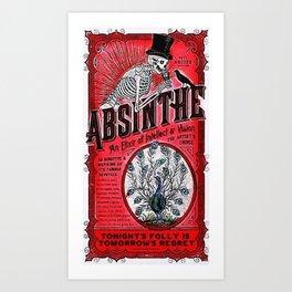Vintage 1871 Red Absinthe Liquor Skeleton Elixir Aperitif Cocktail Alcohol Advertisement Poster Art Print