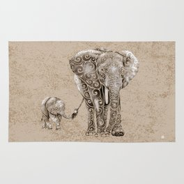 Swirly Elephant Family Rug