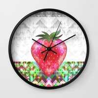 strawberry Wall Clocks featuring Strawberry by Ornaart