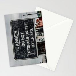 Railway Warning Railroad Trespass Sign Stationery Cards