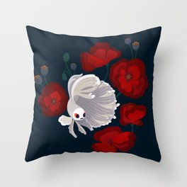 Bettas and Poppies Throw Pillow