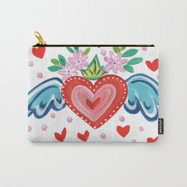 Valentine Heart with Wings Carry-All Pouch