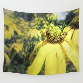 Bees on Yellow Flower Wall Tapestry
