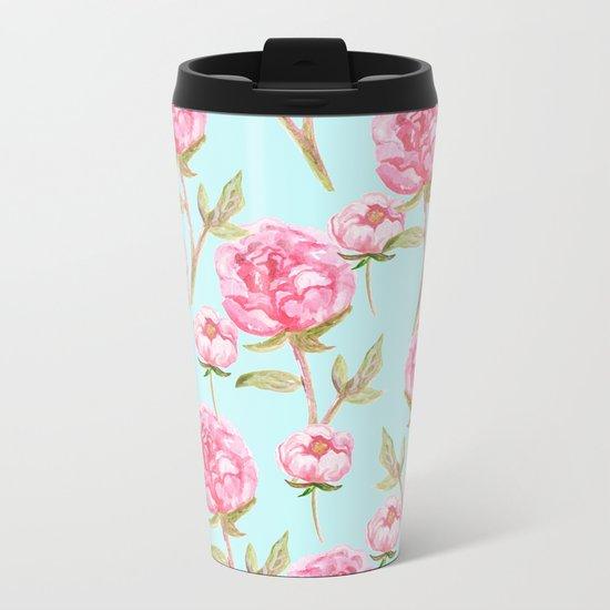 Pink Peonies Metal Travel Mug