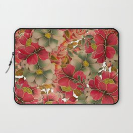 Elegant red coral green gold watercolor floral Laptop Sleeve