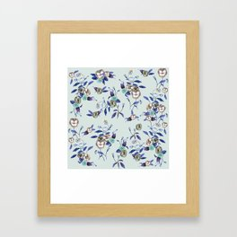 Pansy Blue Indigo Mint Framed Art Print