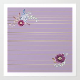 Pastel Watercolor Floral with Metallic Stripes Art Print