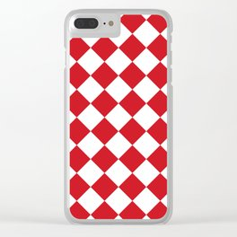 Large Diamonds - White and Fire Engine Red Clear iPhone Case