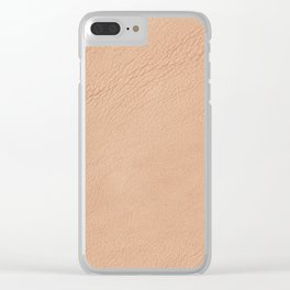 Beige wrinkled leather cloth texture abstract Clear iPhone Case