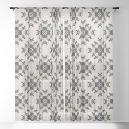 Skulls with Top Hats Pattern Sheer Curtain