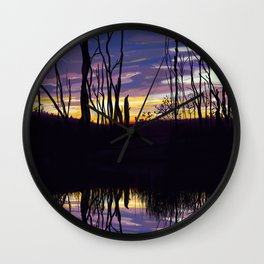 Fall Sunset in Northern Ontario Wall Clock