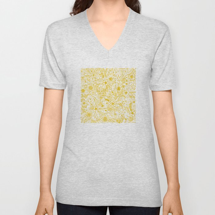 Yellow Floral Doodles Unisex V-Neck