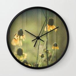 Yellow Coneflowers Summer Botanical Wall Clock