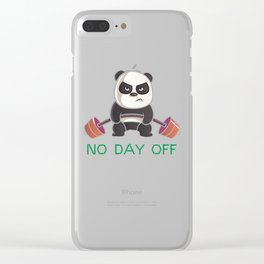 No Day Off Panda Clear iPhone Case