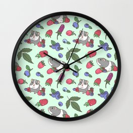 Guinea Pig Pattern in Mint Green Background with mix berries Wall Clock