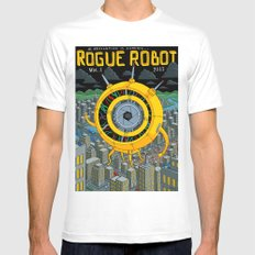 Rogue Robot MEDIUM White Mens Fitted Tee