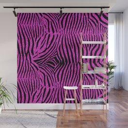 Pink Glitter Zebra Print Wall Mural