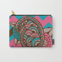 Paisley flower design on chevron background in chocolate, teal, pink Carry-All Pouch