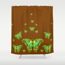GREEN-YELLOW MOTHS ON COFFEE BROWN Shower Curtain