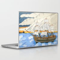 pirate ship Laptop & iPad Skins featuring Pirate Ship At Sea by J&C Creations